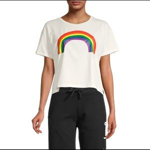French Connection Rainbow Pride Cropped T-Shirt